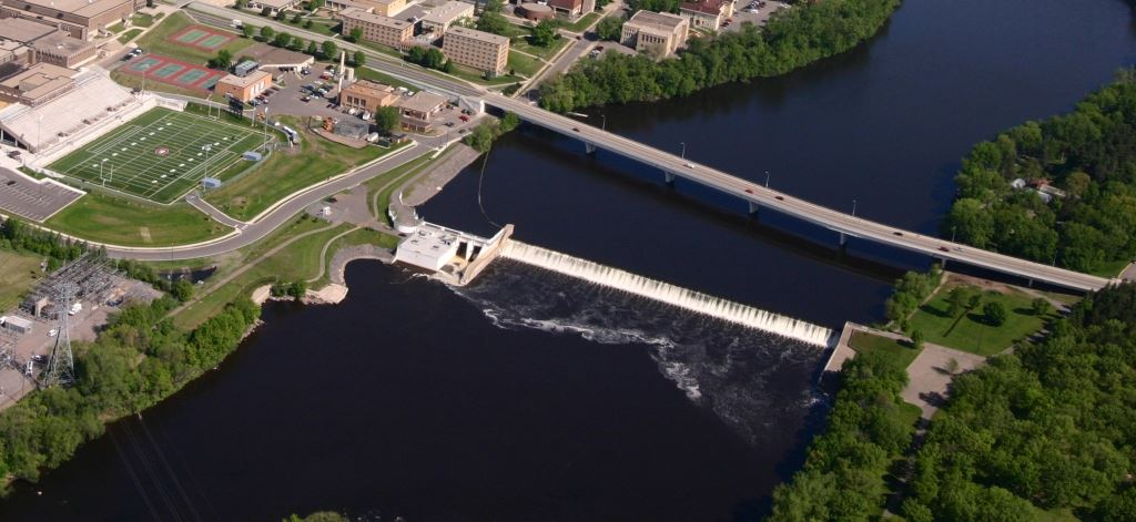 Aerial Photo of the St. Cloud, MN hydro electric dam and Mississippi River