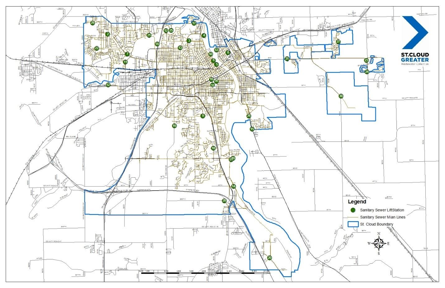 Map of the City of Saint Cloud's Sanitary Sewer System