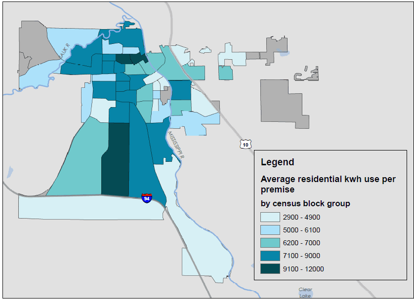 Map graphic depicting average electricity use per premise by census block groups