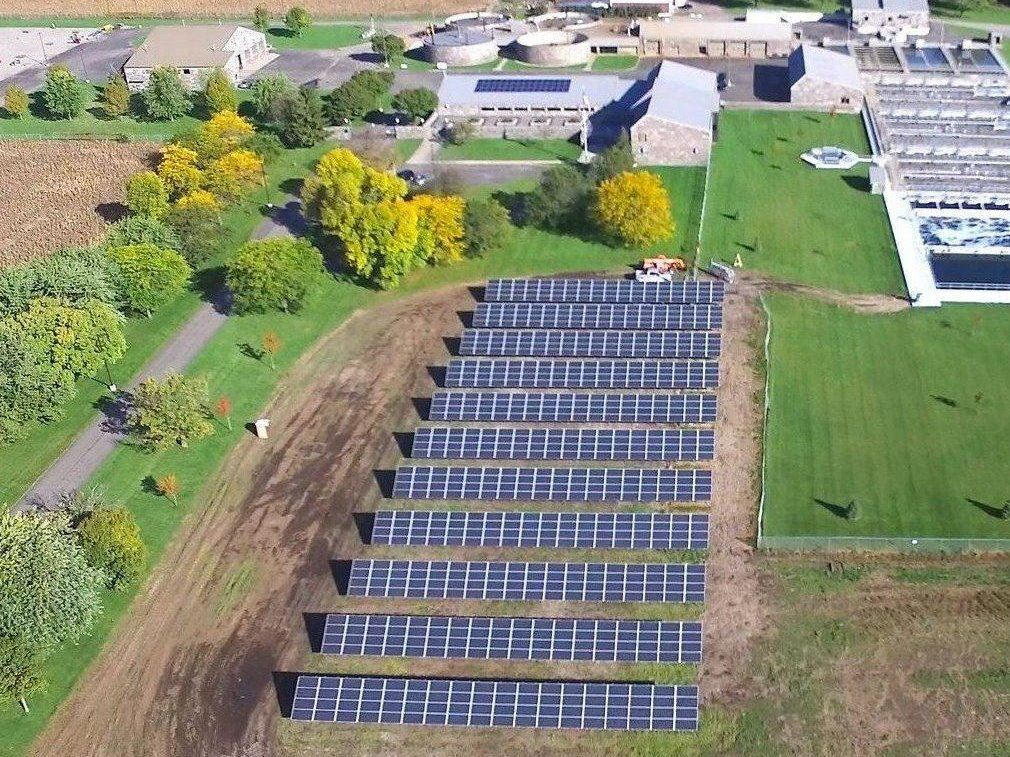 Aerial Photo of the  St. Cloud Wastewater Treatment Facility and it's Solar Farm