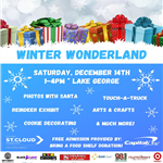 Flyer for Winter Wonderland 2019 at Lake George December 14th from 1-4pm