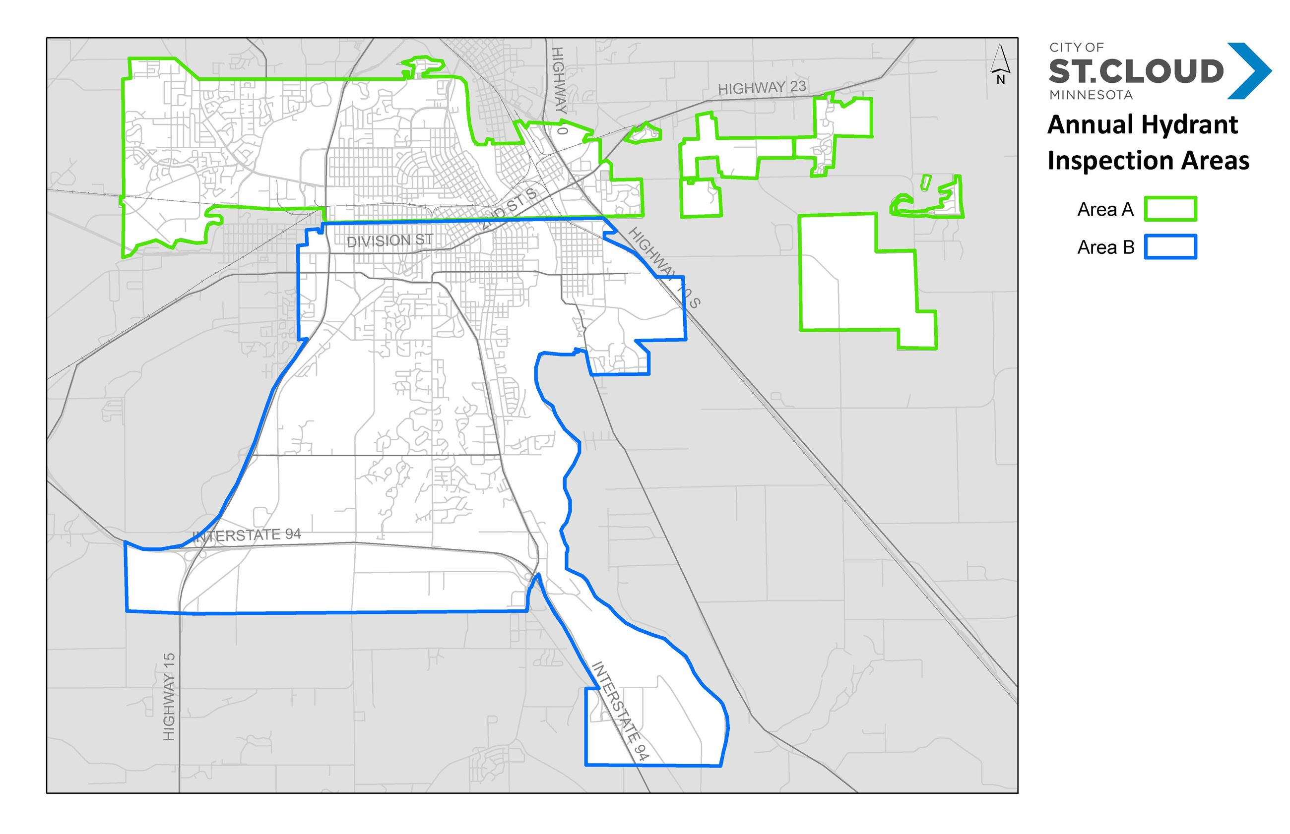 Annual Hydrant Inspection Areas Map 2020