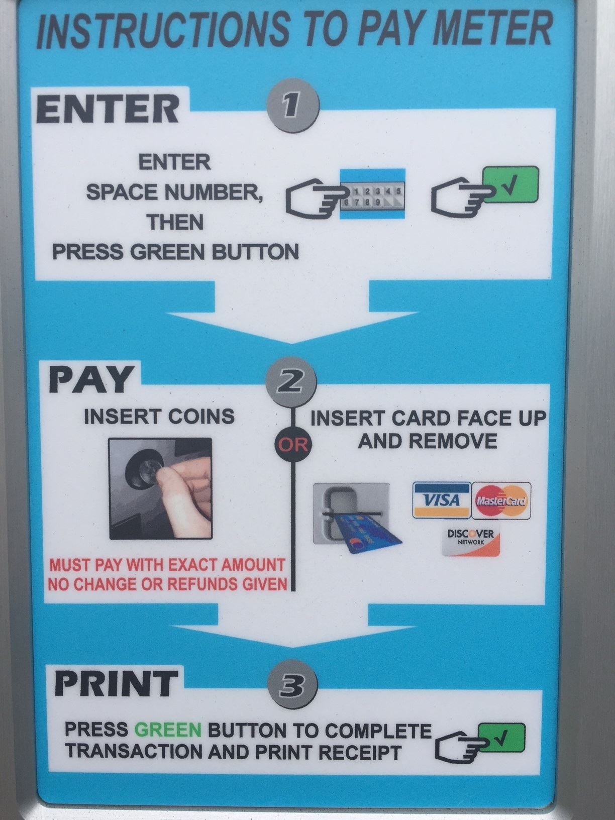Pay station instructions
