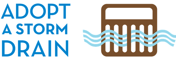 Adopt a Drain Slogan with Drawing of Stormdrain