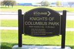 "Knights of Columbus Park entrance sign, reading ""City of St Cloud, Minnesota, Knights of Columbus"