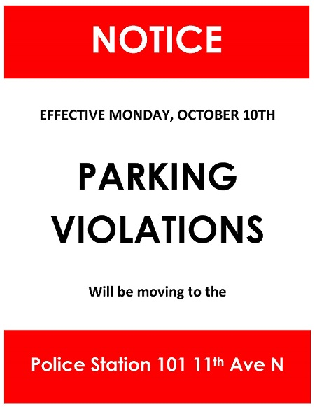 Parking Violations will be moving to the Police Station